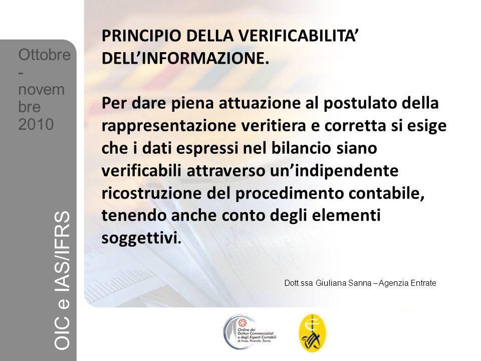 OIC e IAS/IFRS PRINCIPIO DELLA VERIFICABILITA' DELL'INFORMAZIONE.