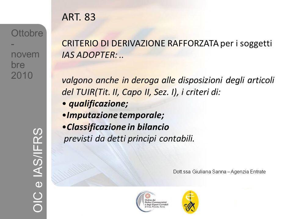 ART. 83 CRITERIO DI DERIVAZIONE RAFFORZATA per i soggetti IAS ADOPTER: ..