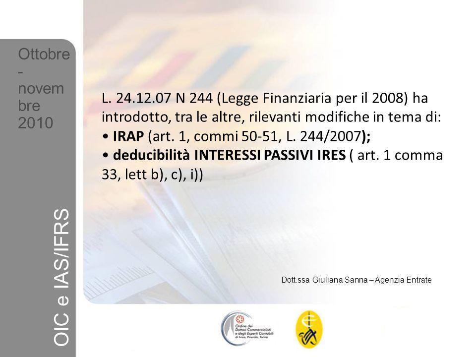 OIC e IAS/IFRS Ottobre- novembre 2010