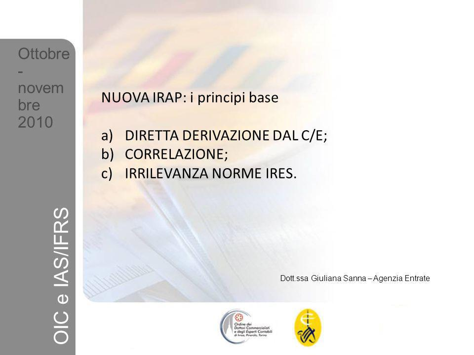 OIC e IAS/IFRS Ottobre- novembre 2010 NUOVA IRAP: i principi base