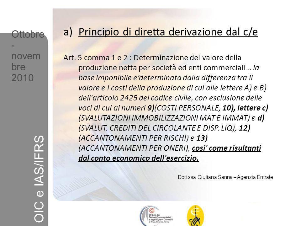 OIC e IAS/IFRS Principio di diretta derivazione dal c/e Ottobre-