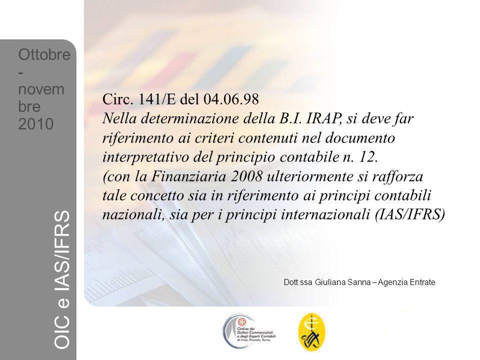 OIC e IAS/IFRS Ottobre- novembre 2010 Circ. 141/E del 04.06.98
