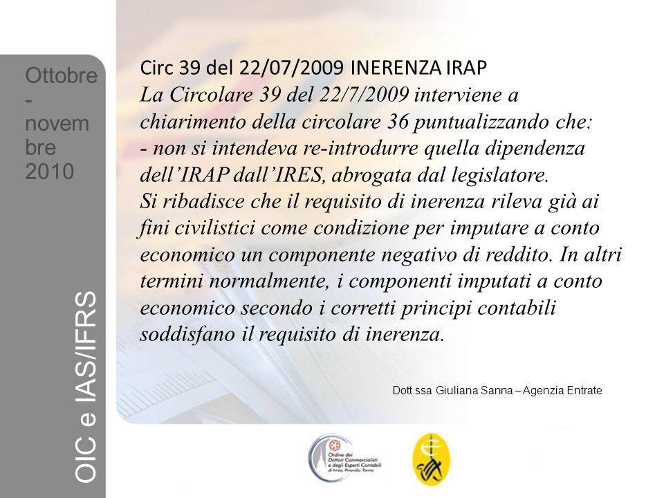 OIC e IAS/IFRS Circ 39 del 22/07/2009 INERENZA IRAP Ottobre-