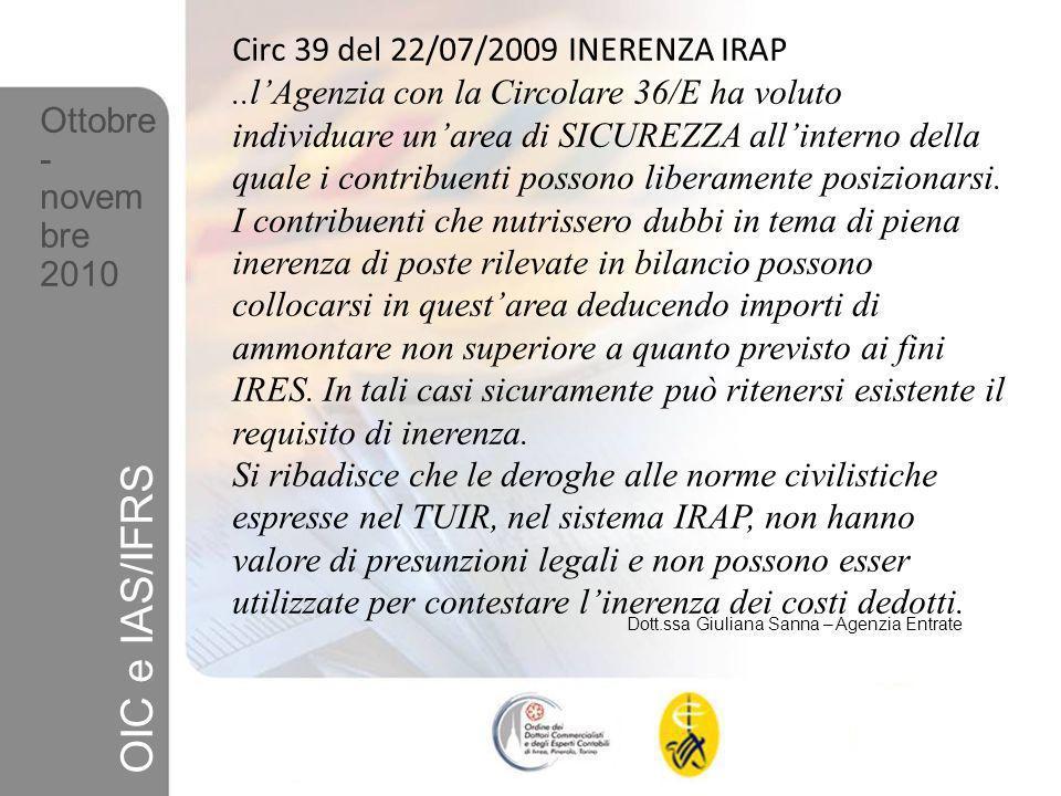 OIC e IAS/IFRS Circ 39 del 22/07/2009 INERENZA IRAP