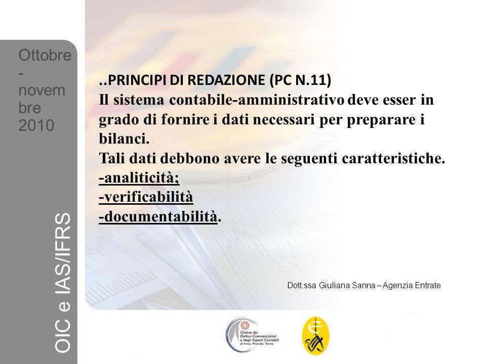 OIC e IAS/IFRS Ottobre- novembre ..PRINCIPI DI REDAZIONE (PC N.11)