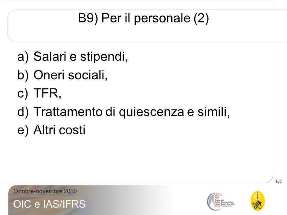 B9) Per il personale (2) Salari e stipendi, Oneri sociali, TFR, Trattamento di quiescenza e simili,