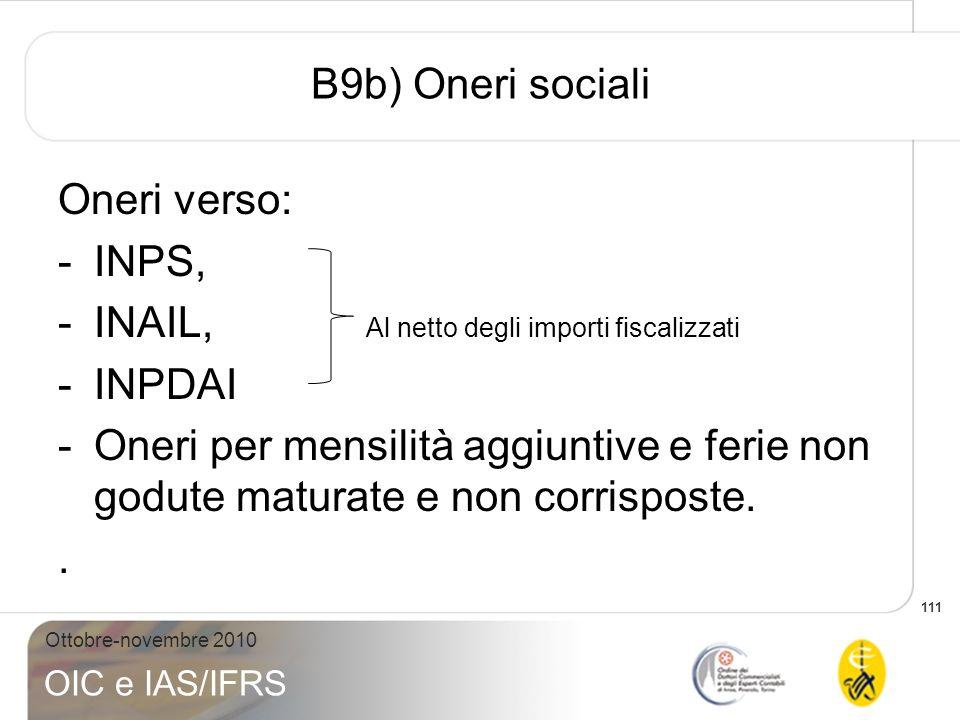 B9b) Oneri sociali Oneri verso: INPS, INAIL, Al netto degli importi fiscalizzati. INPDAI.