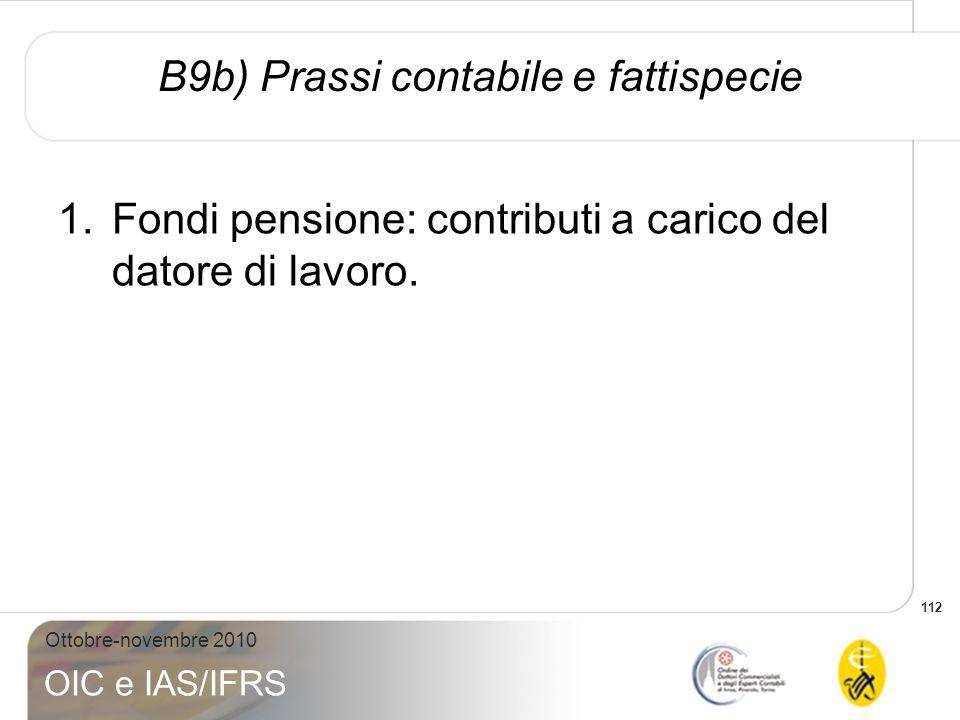 B9b) Prassi contabile e fattispecie