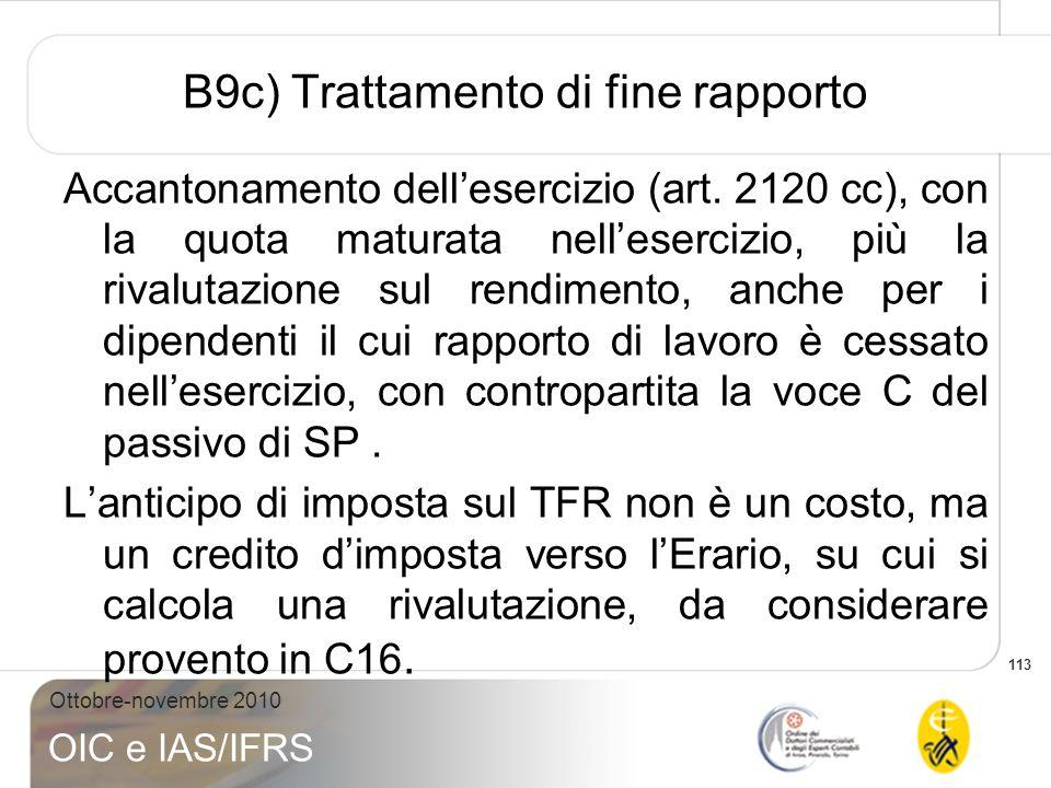 B9c) Trattamento di fine rapporto