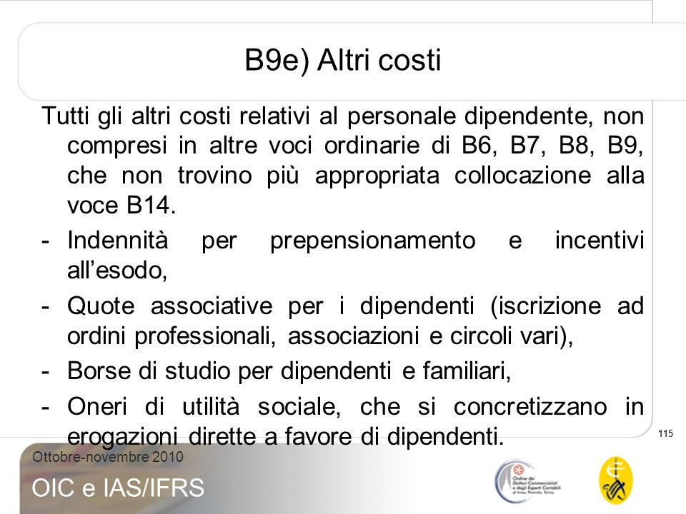 B9e) Altri costi