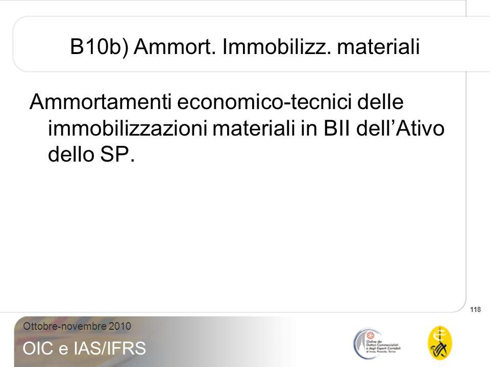 B10b) Ammort. Immobilizz. materiali