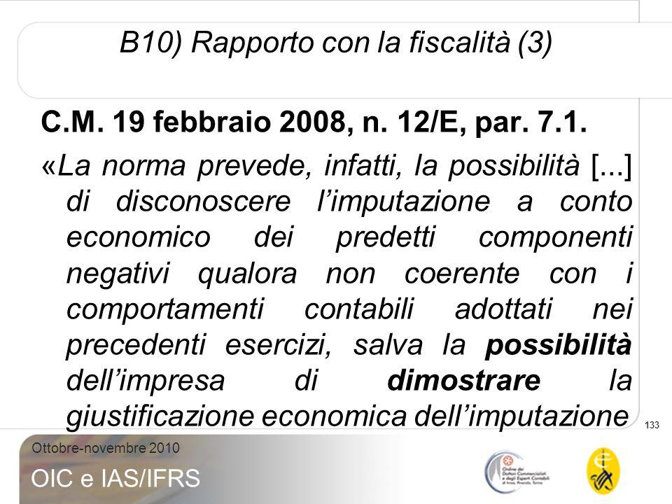 B10) Rapporto con la fiscalità (3)