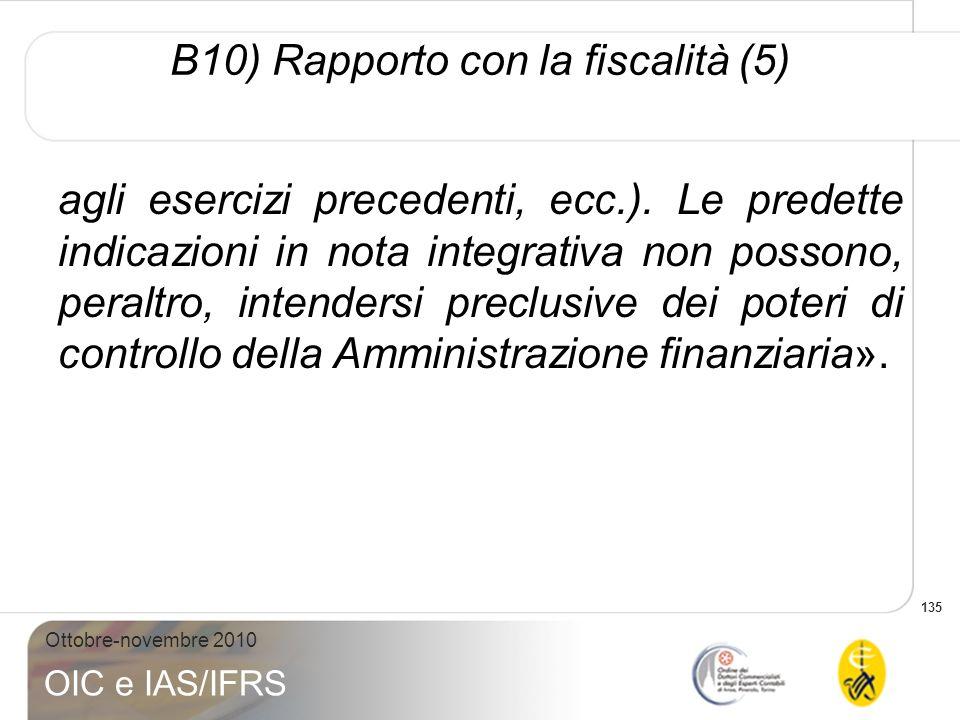 B10) Rapporto con la fiscalità (5)