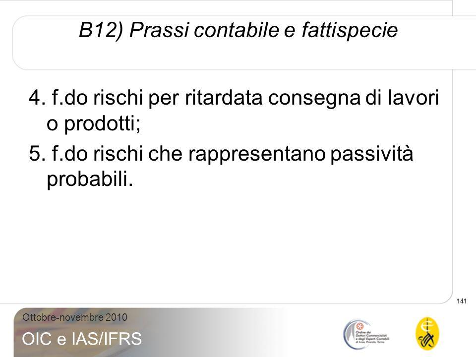B12) Prassi contabile e fattispecie