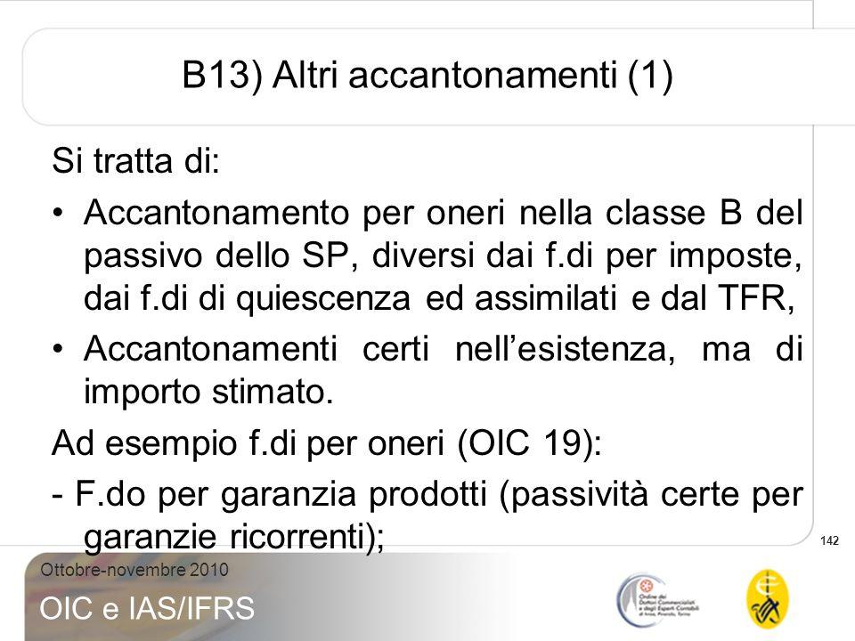 B13) Altri accantonamenti (1)