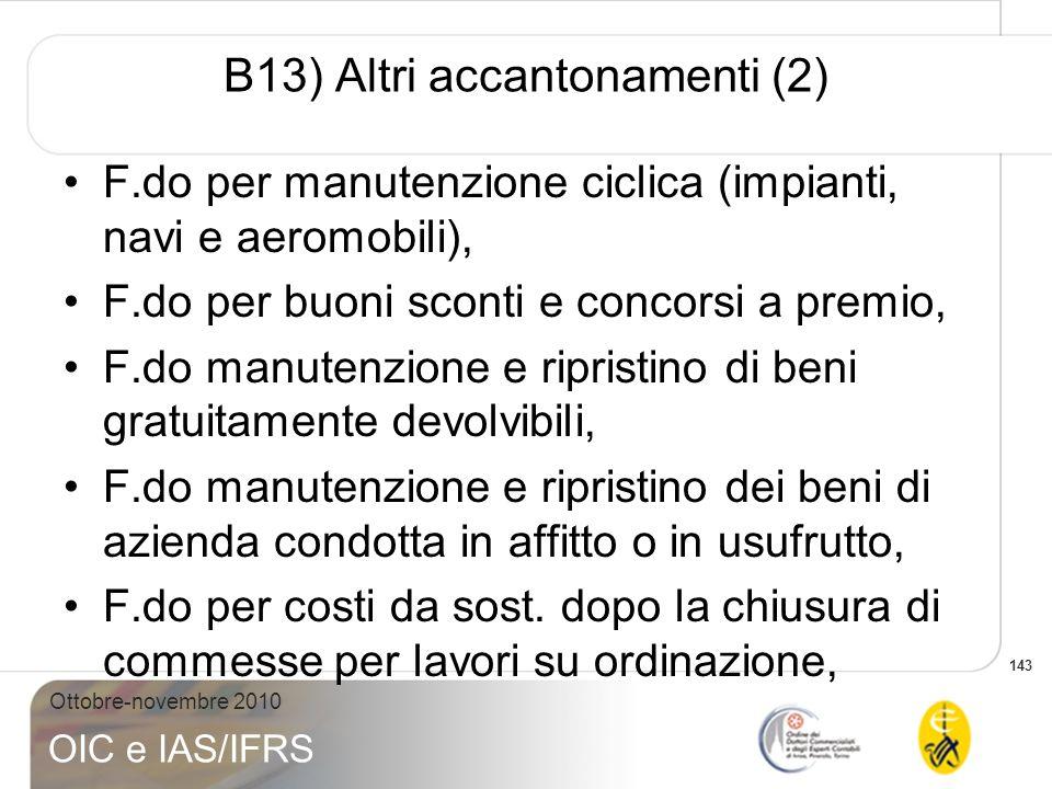 B13) Altri accantonamenti (2)