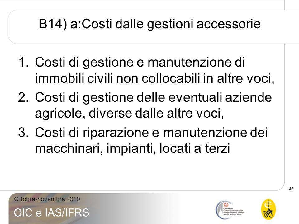 B14) a:Costi dalle gestioni accessorie