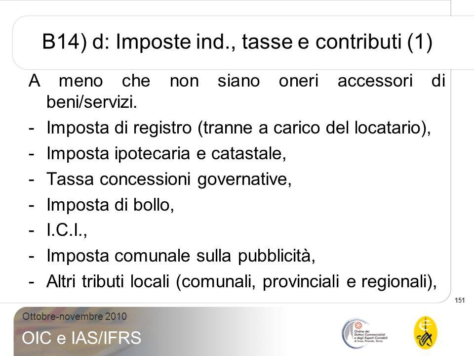 B14) d: Imposte ind., tasse e contributi (1)