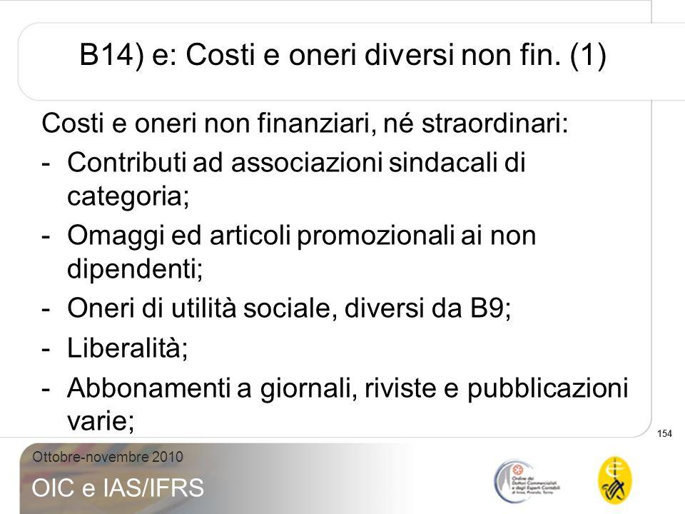B14) e: Costi e oneri diversi non fin. (1)