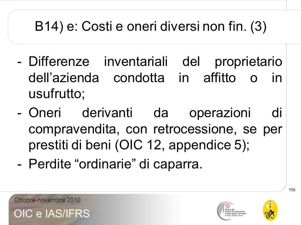 B14) e: Costi e oneri diversi non fin. (3)