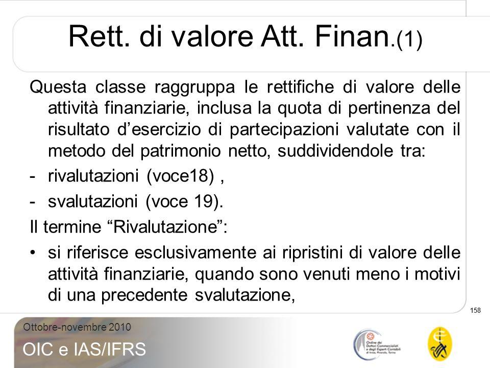 Rett. di valore Att. Finan.(1)