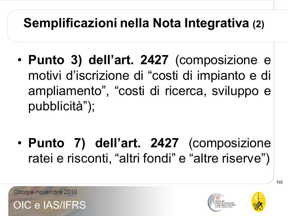 Semplificazioni nella Nota Integrativa (2)