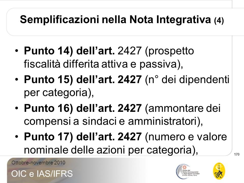 Semplificazioni nella Nota Integrativa (4)