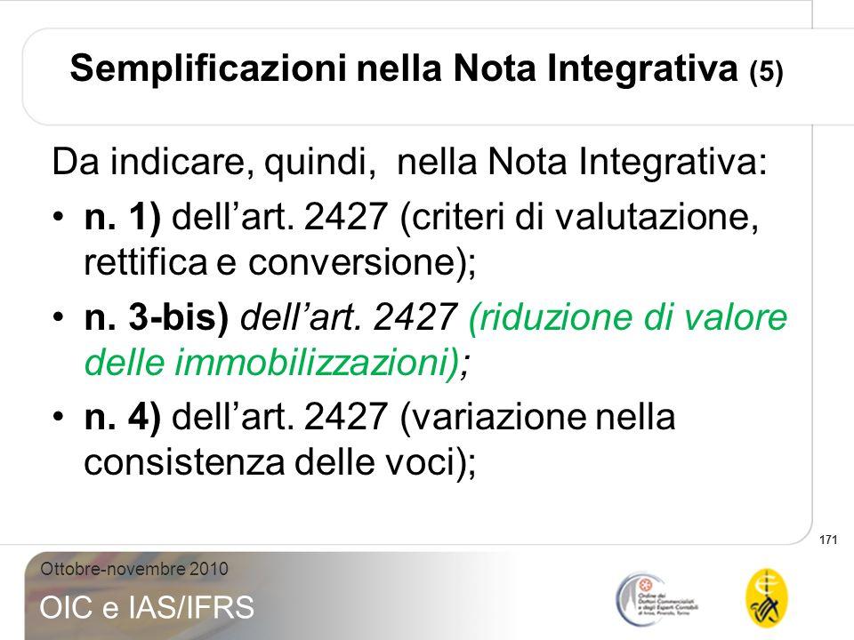 Semplificazioni nella Nota Integrativa (5)