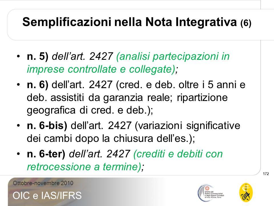 Semplificazioni nella Nota Integrativa (6)