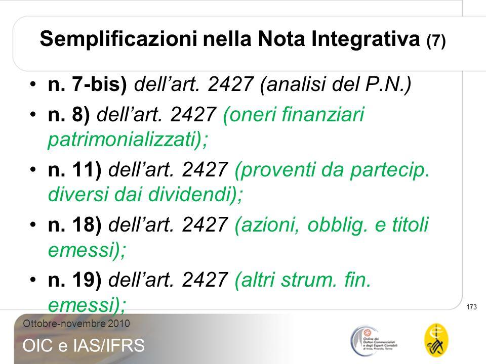 Semplificazioni nella Nota Integrativa (7)