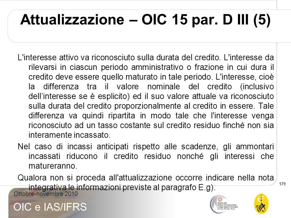 Attualizzazione – OIC 15 par. D III (5)