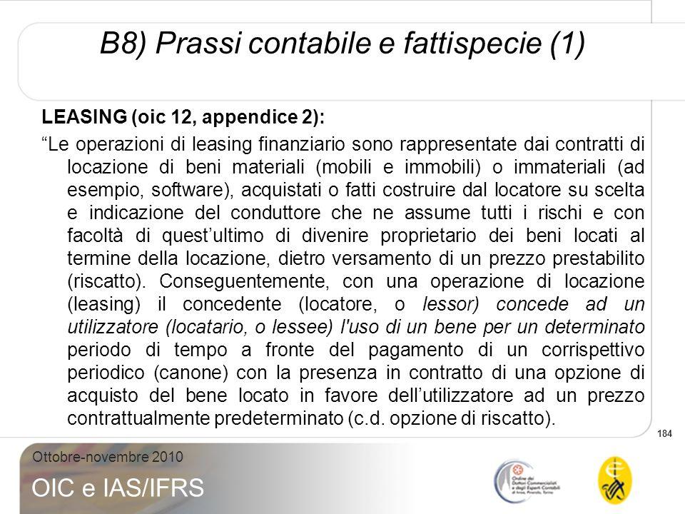 B8) Prassi contabile e fattispecie (1)