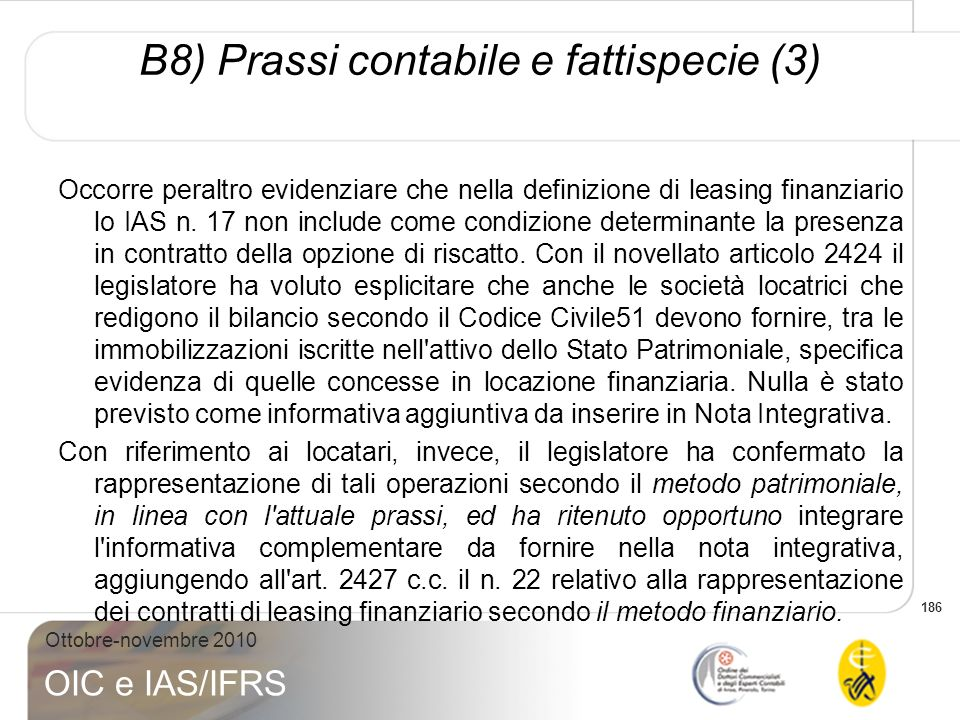 B8) Prassi contabile e fattispecie (3)