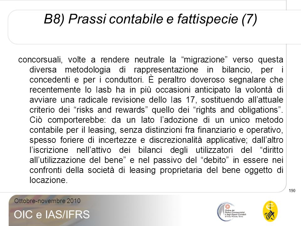 B8) Prassi contabile e fattispecie (7)