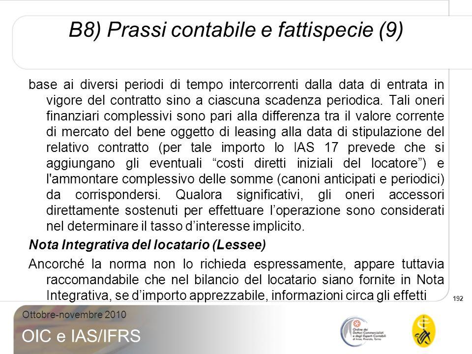 B8) Prassi contabile e fattispecie (9)