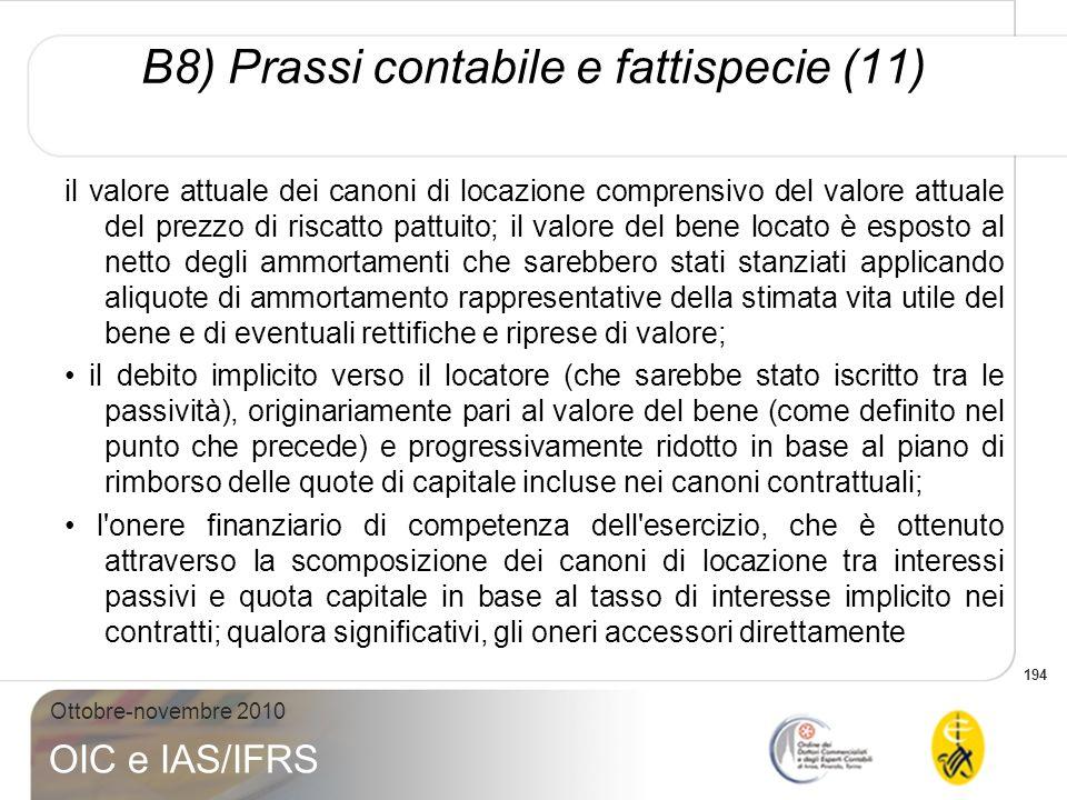 B8) Prassi contabile e fattispecie (11)