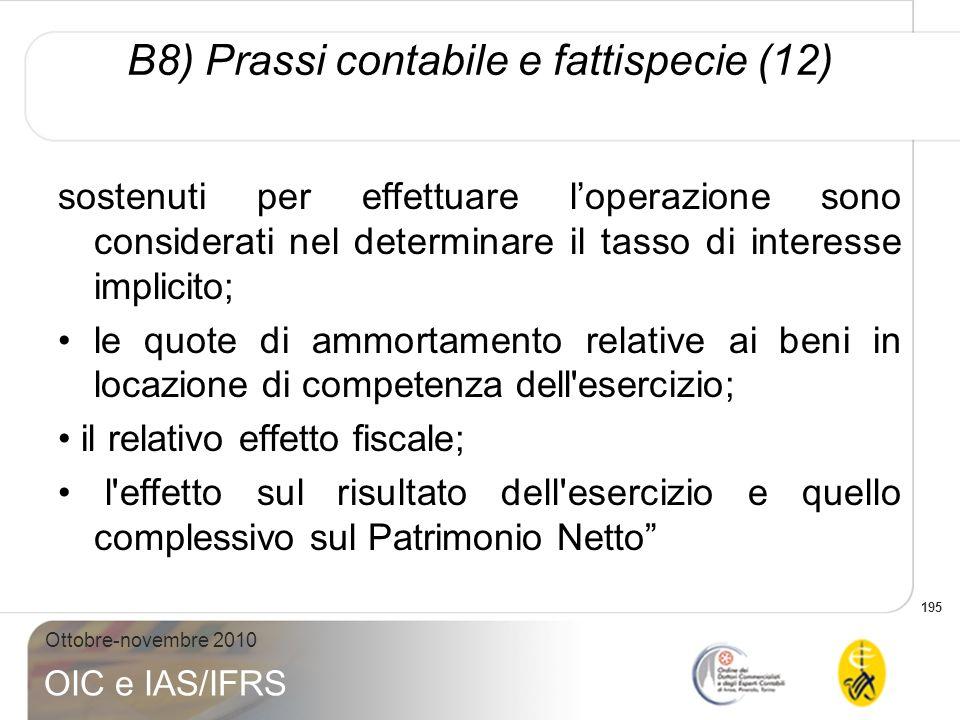 B8) Prassi contabile e fattispecie (12)