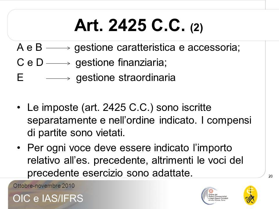 Art. 2425 C.C. (2) A e B gestione caratteristica e accessoria;