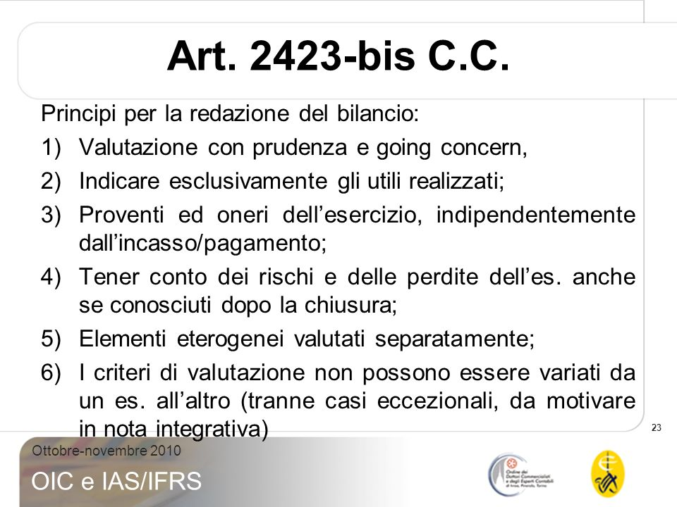 Art. 2423-bis C.C. Principi per la redazione del bilancio: