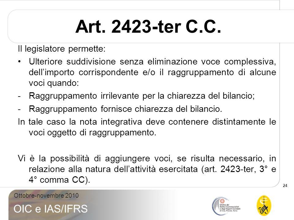Art. 2423-ter C.C. Il legislatore permette: