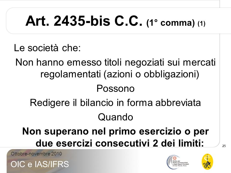 Art. 2435-bis C.C. (1° comma) (1)