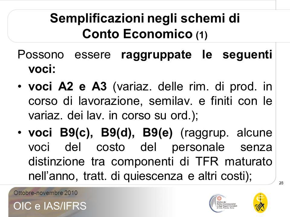 Semplificazioni negli schemi di Conto Economico (1)