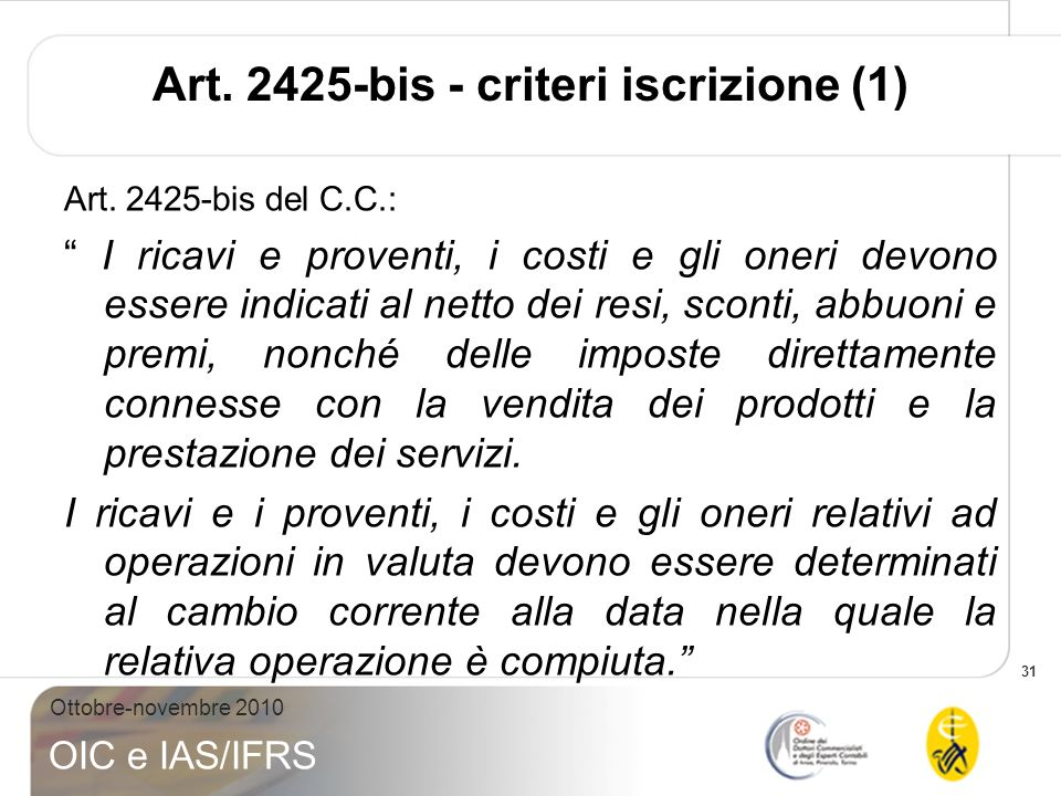 Art. 2425-bis - criteri iscrizione (1)