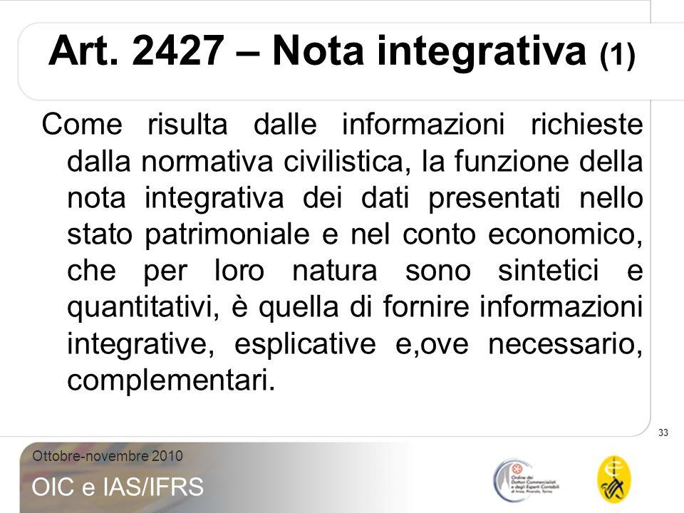 Art. 2427 – Nota integrativa (1)