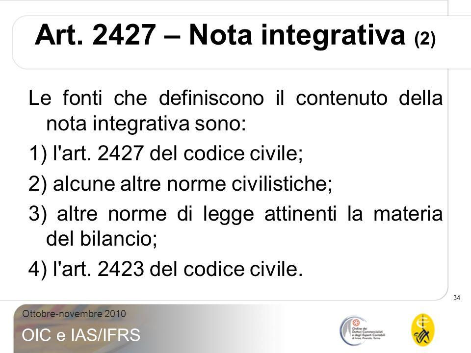 Art. 2427 – Nota integrativa (2)