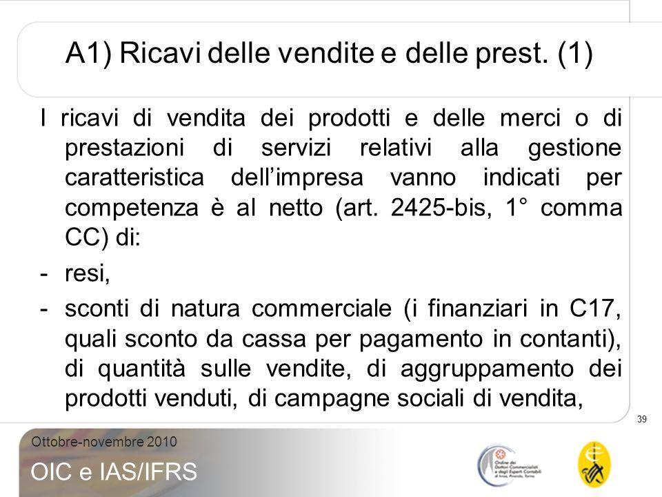 A1) Ricavi delle vendite e delle prest. (1)