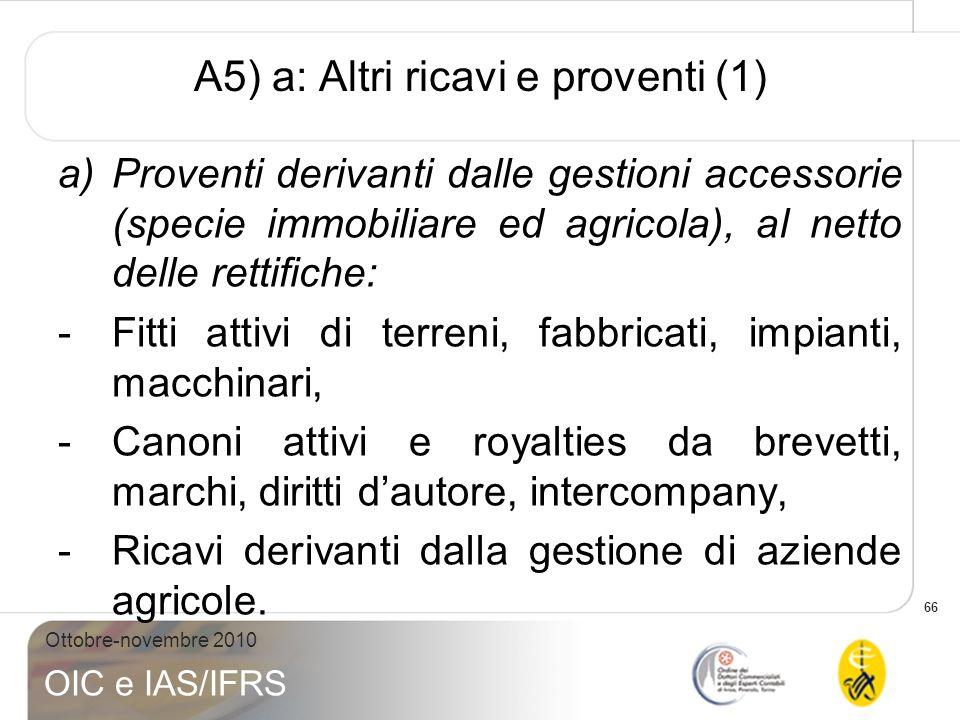 A5) a: Altri ricavi e proventi (1)