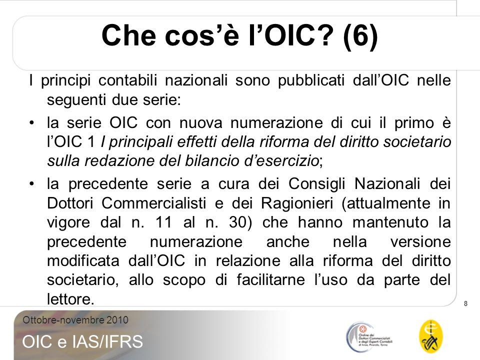Che cos'è l'OIC (6) I principi contabili nazionali sono pubblicati dall'OIC nelle seguenti due serie: