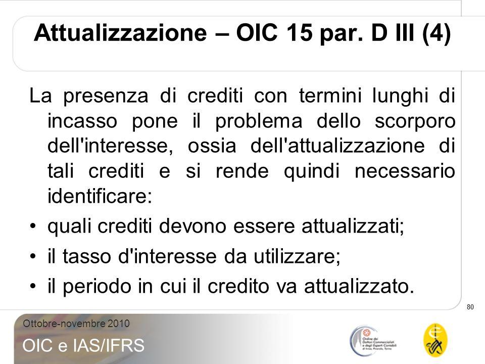 Attualizzazione – OIC 15 par. D III (4)