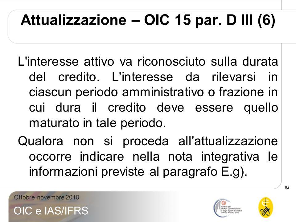 Attualizzazione – OIC 15 par. D III (6)